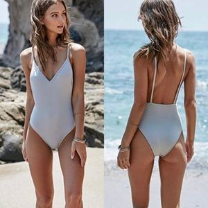 L.A. Hearts Solid Low Back Silver Gray One Piece